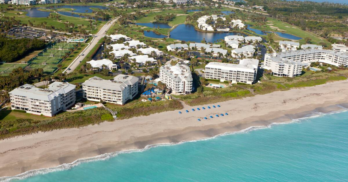 Hutchinson Island Real Estate Aerial Photo of beach and buildings